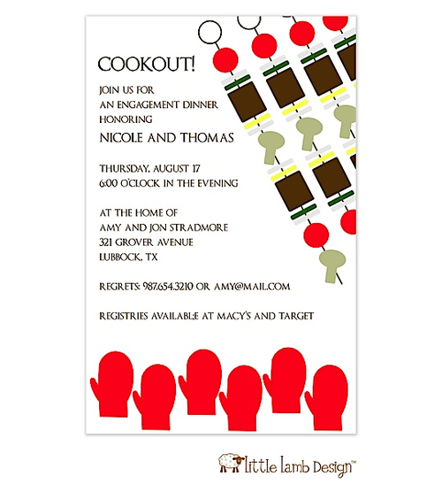 Invitation featuring cookout artwork. Great for engagement, rehearsal or summer cookouts.