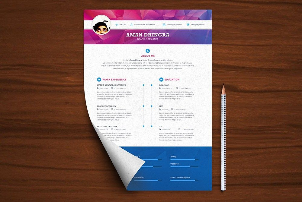 Awesome Professional Resume Cv Template Free Psd Download