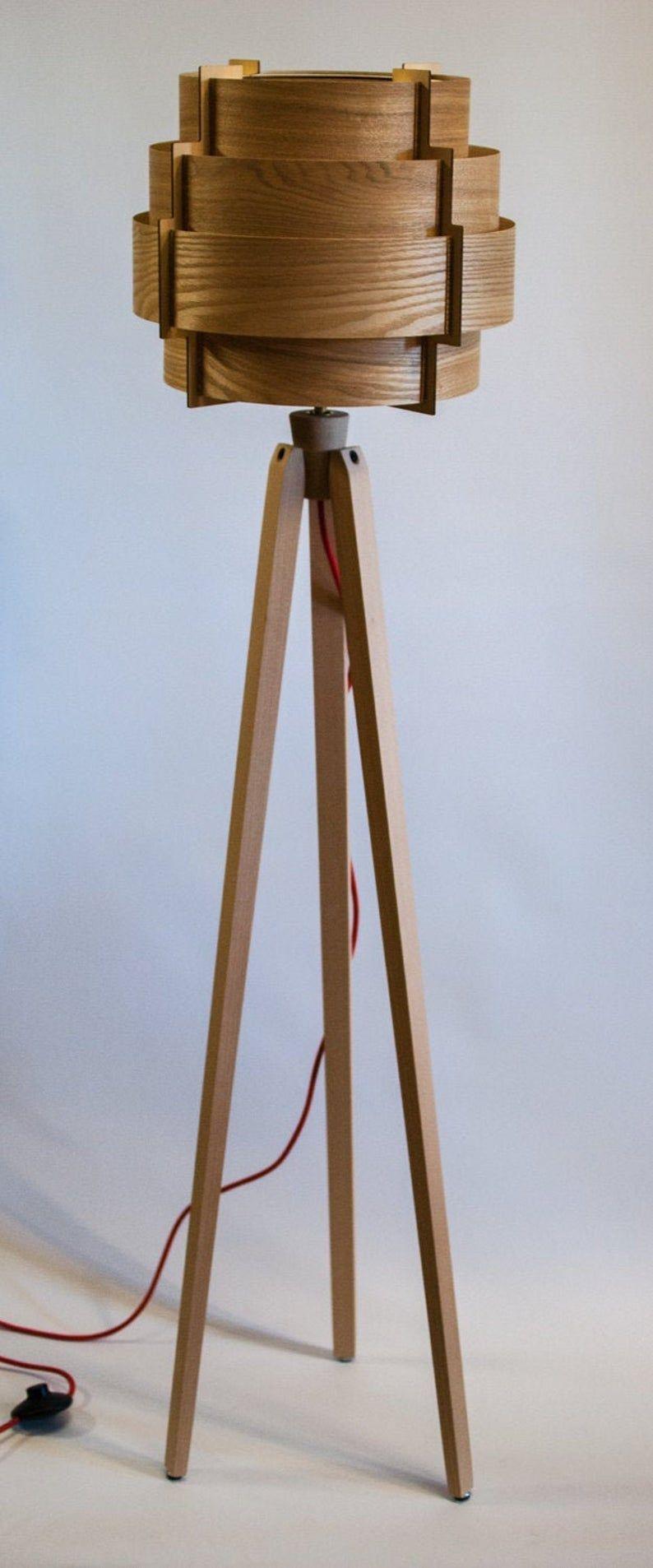 Tripod Stehlampe Dreibein Retro 60 70iger Design Holzfurnier