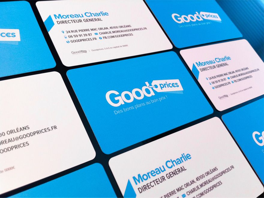 Business cards for Goodprices, French business (goodprices.fr) 350g ...