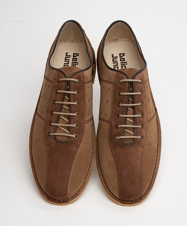 $106 Delicious Junction Bowling Shoe in Tan/Brown Suede