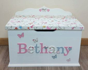 Personalised Custom Bespoke Wooden Toy Box Any By Kidsdreambox Personalised Toy Box Wooden Toy Boxes Girls Toy Box