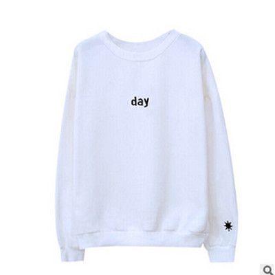 Harajuku 2017 Letters Day&night Embroidered Sweatshirt Women Long Sleeve Hoodie Female Loose Women Hoodies Sweatshirts Plus Size