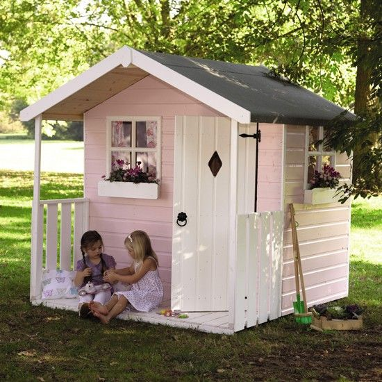 This sugar pink playhouse with its pretty little verandah and smart window boxes is just about the perfect place for a tea party or teddy bears picnic.