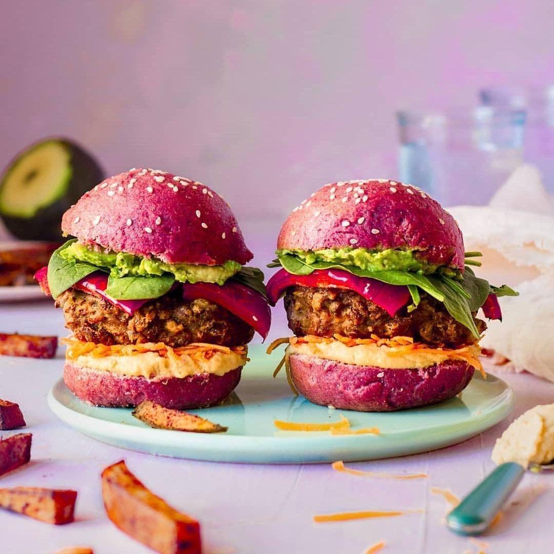 Pink Beet Burgers Buns Ingredients 225g Plain Flour 130ml Plant Based Milk Warm 30ml Light Tasting Oil 2 Tsp Fast Acting Yea Homemade Burgers Food Beet Burger