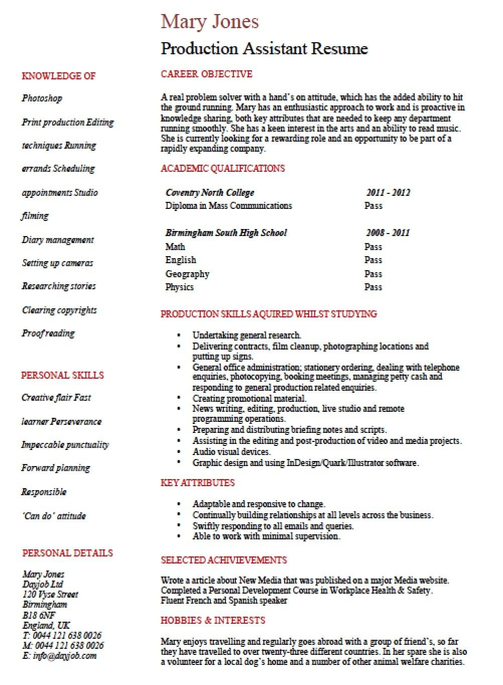Top 20 Production assistant Resume Resume, Resume