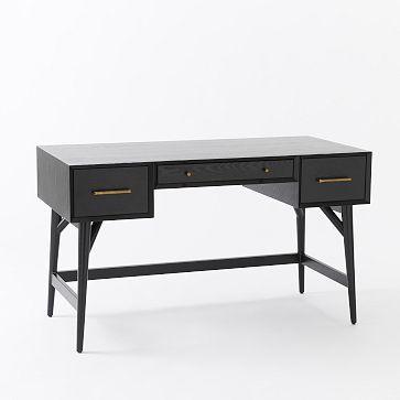 Modern Furniture Home Decor Home Accessories West Elm Mid Century Desk Black Desk Modern Home Office Desk