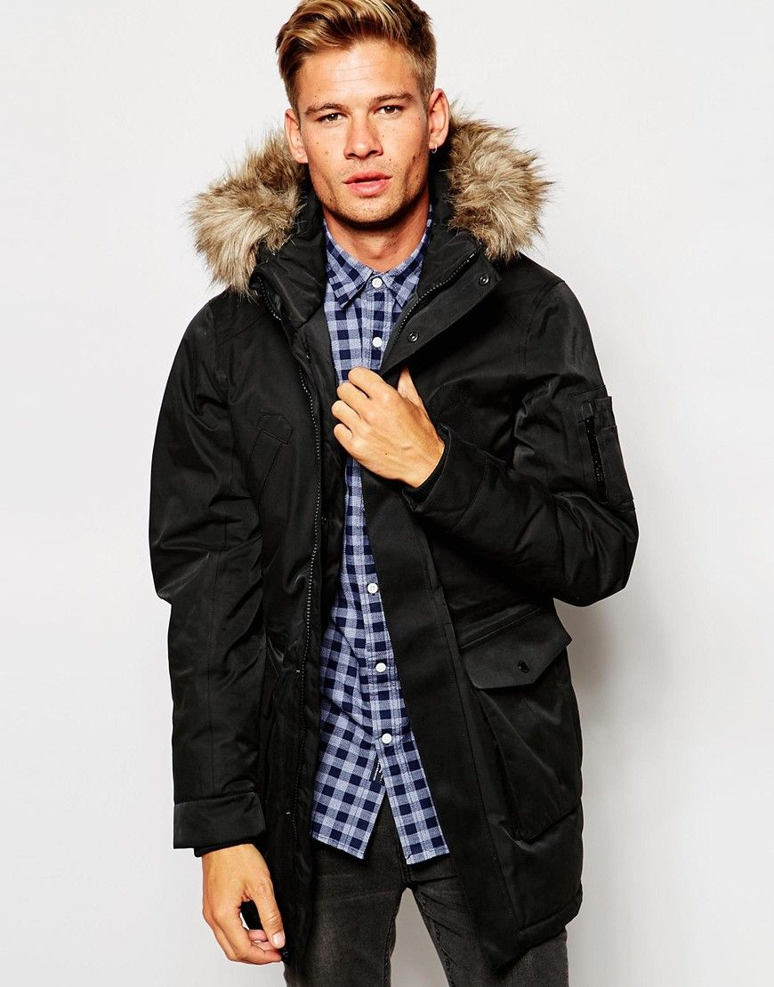 cbaf41969de Parka by Selected Homme Smooth woven outer Hood with faux-fur trim  Concealed zip and