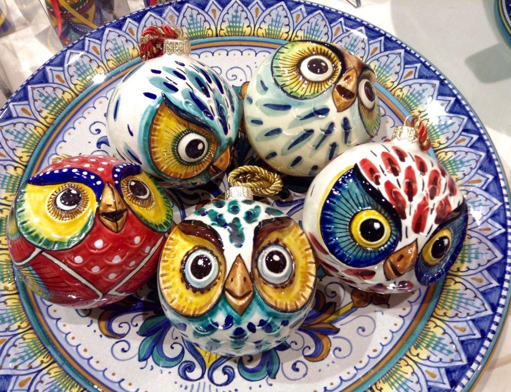 Christmasball by Ceramiche Sberna - Deruta - Italy | Owl-Baykuş ...