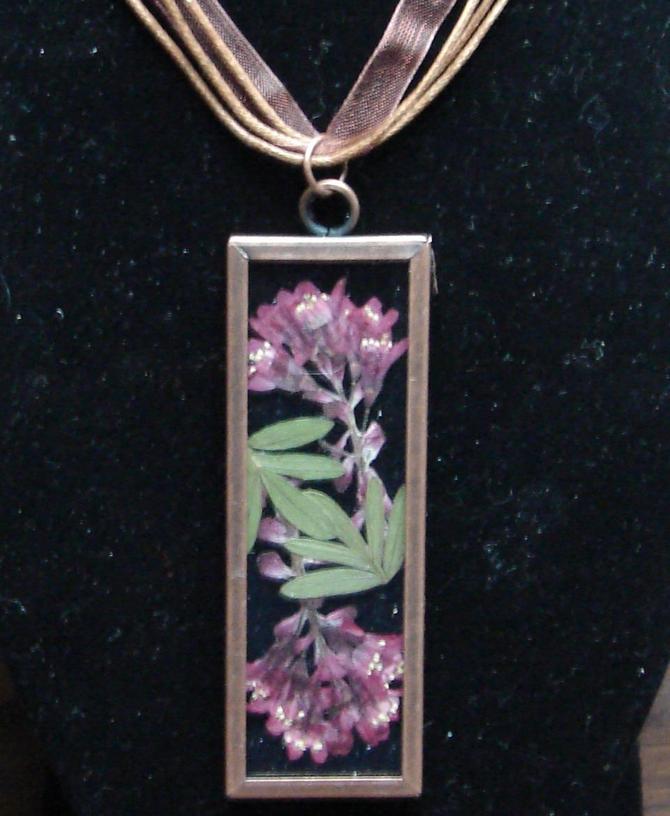 Wild currant pressed flower necklace