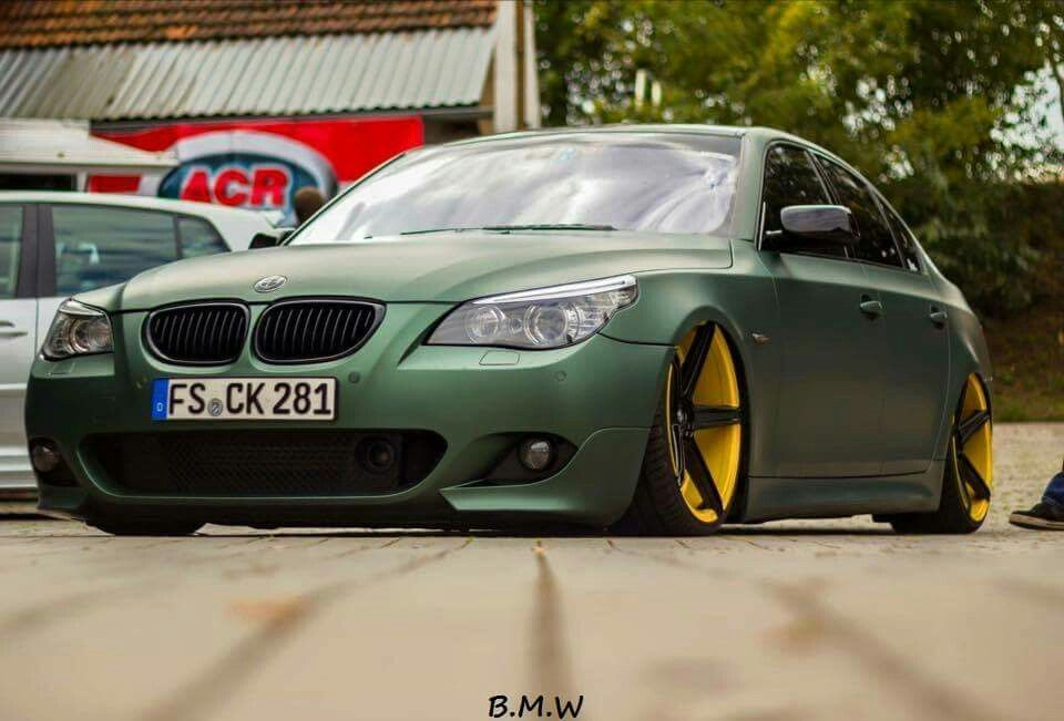 Bmw E60 M5 Matte Green Slammed Bmw Bmw E60 Bmw 5 Series