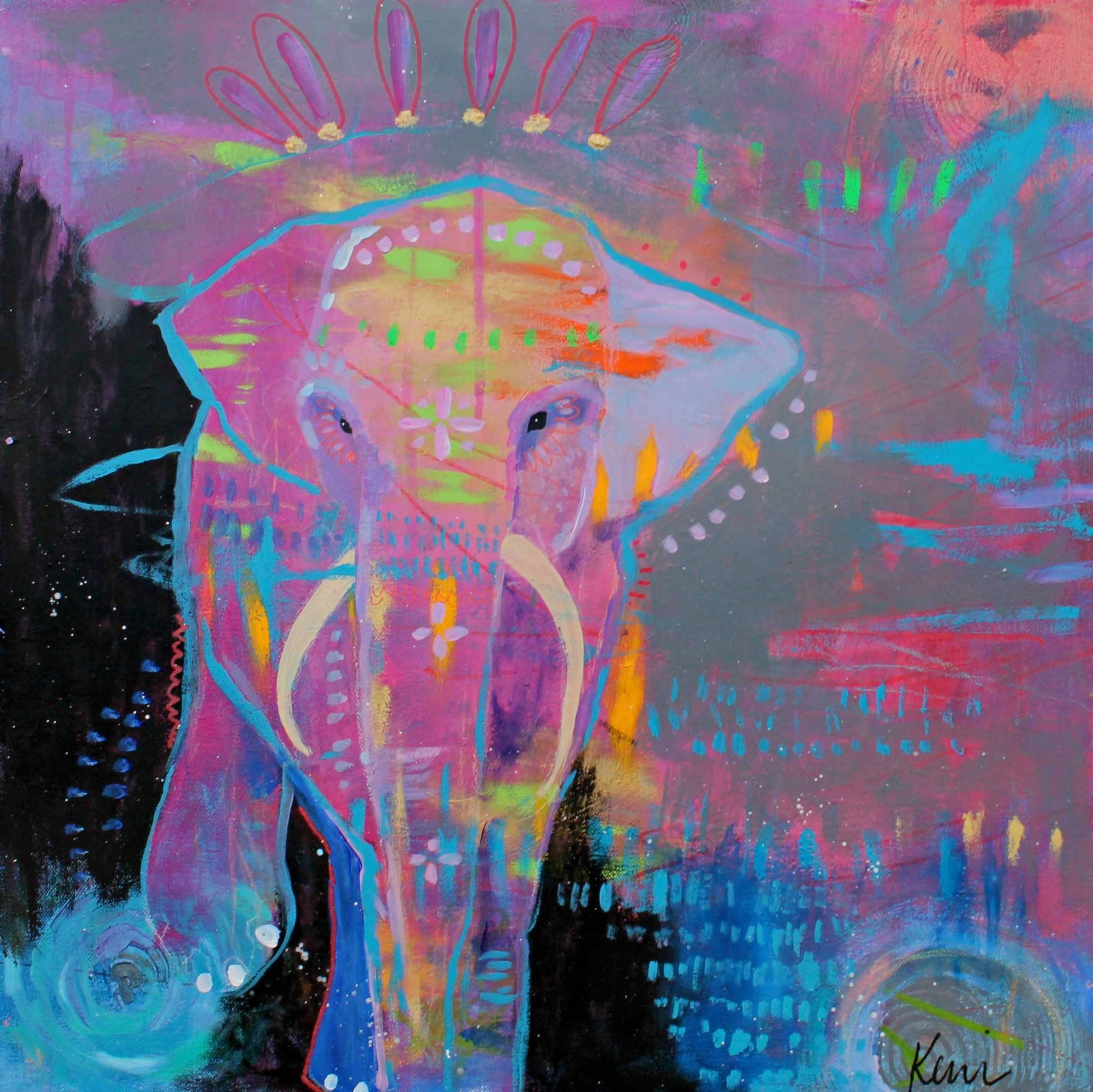 Abstract Elephant Painting Colorful Outsider Original On Canvas Stride On Elephant Spirit 20x20 Painting Art Lovers Art