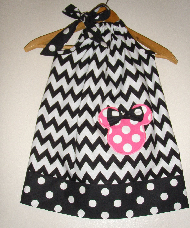 Minnie Chevron wiht pink Polka dots applique pillowcase dress ...