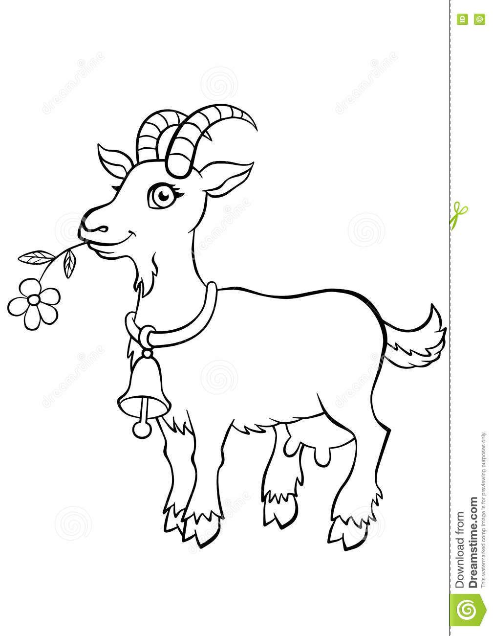 Illustration About Coloring Pages Animals Little Cute Goat Stands And Holds A Flower Goat Coloring Pages Farm Animal Coloring Pages Zoo Animal Coloring Pages