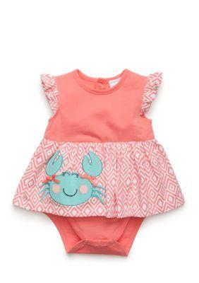 Nursery Rhyme Coral One-Piece Crab Bodysuit Dress