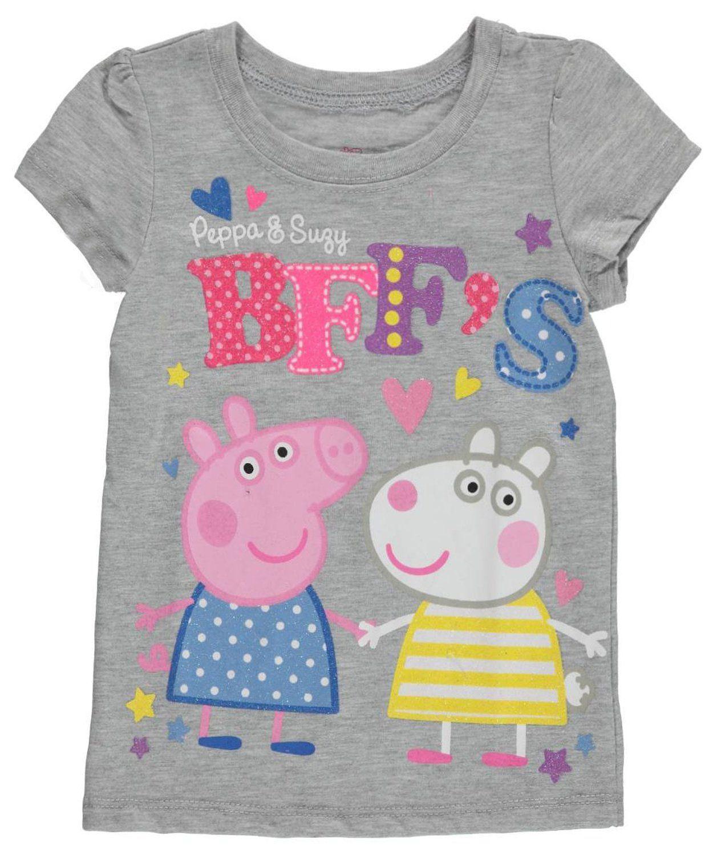 "Peppa Pig Little Girls Toddler ""BFF s"" T Shirt gray 2t"