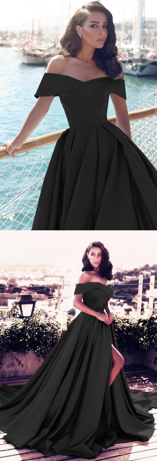 a5f36815c5e9 Long Black Satin Off-the-shoulder Prom Dresses 2018 Elegant Split Evening  Gowns P1898  promdresses