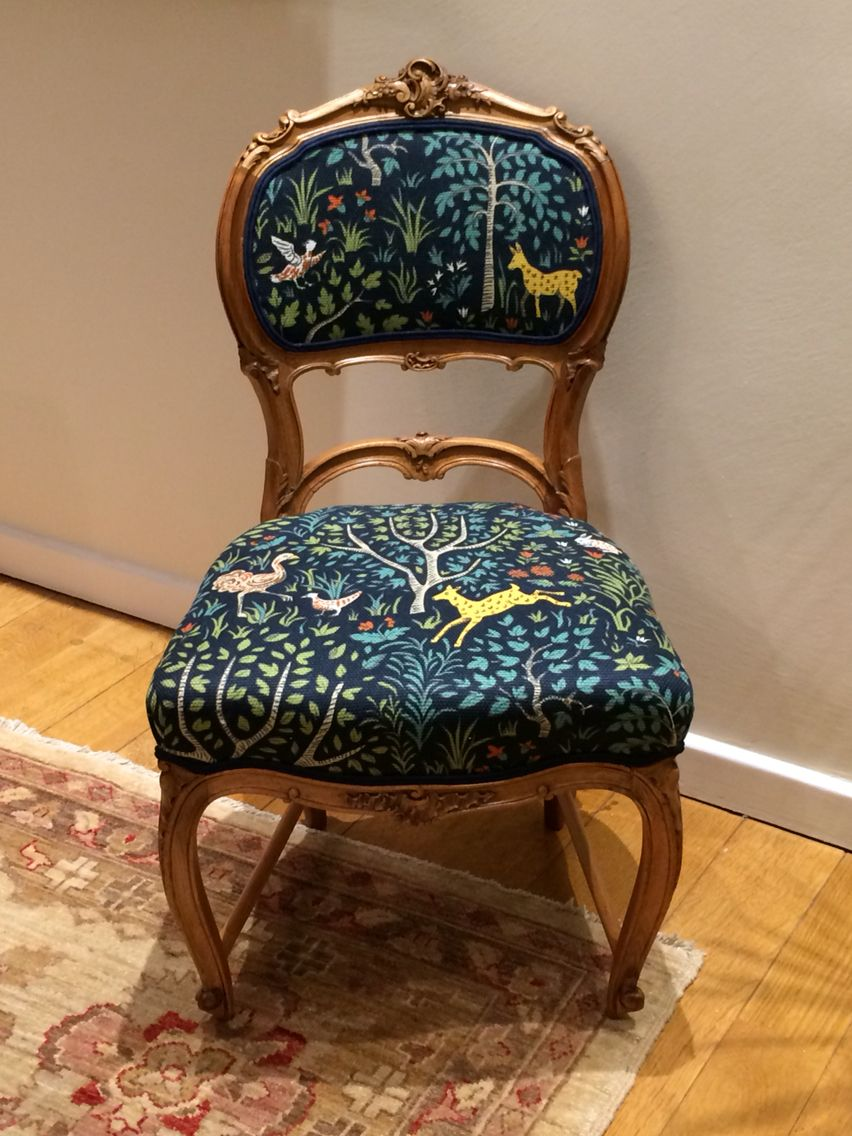 Upholstery, Childu0027s Chair, French Antique, Louis XV Style, Robert Allen  Folkland Admiral