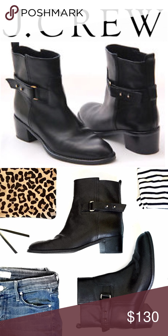 J Crew Leather heeled short boots booties black 8