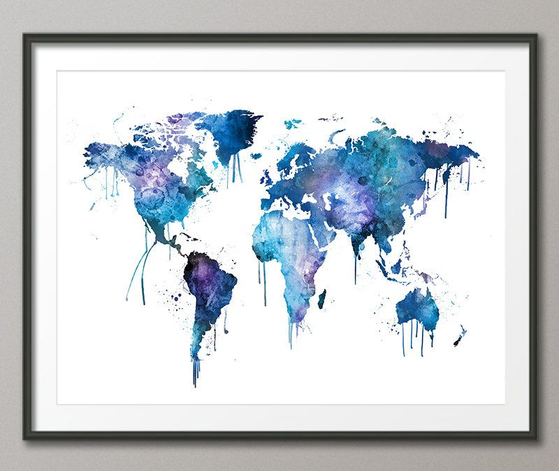 Watercolor map of the world map paint splashes map art print watercolor map of the world map paint splashes map art print by artpause on etsy sciox Gallery
