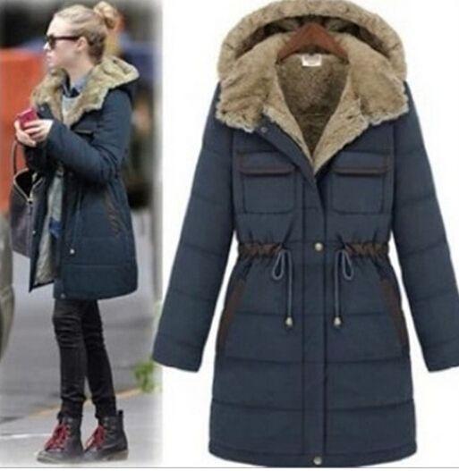 Elegant Womens Winter Cotton Down Coat Long Slim Lapel Warm Outwear Pakra Jacket