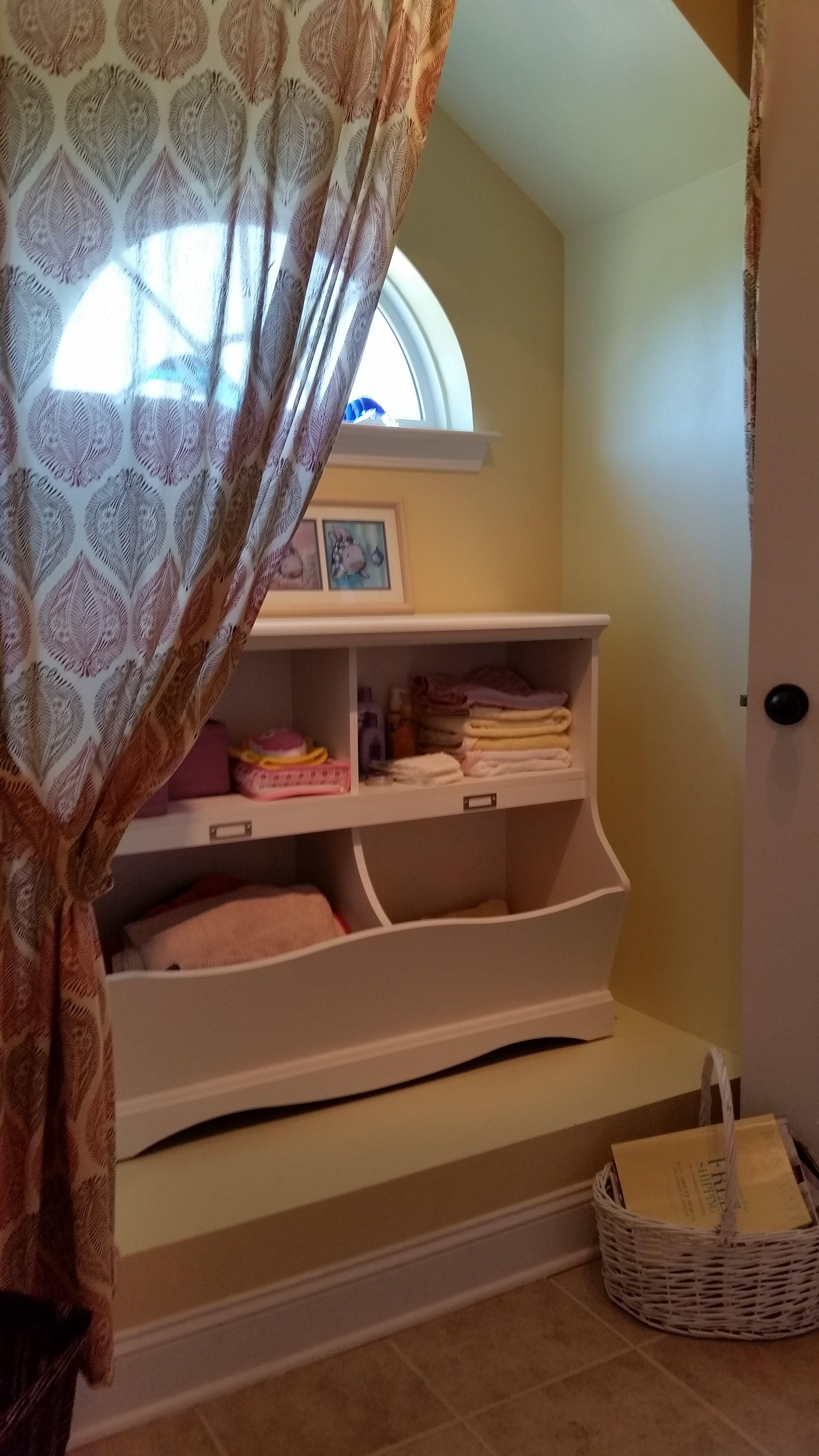 Baby Girl Room Conversion - Baby Bathroom - Bath Storage ...