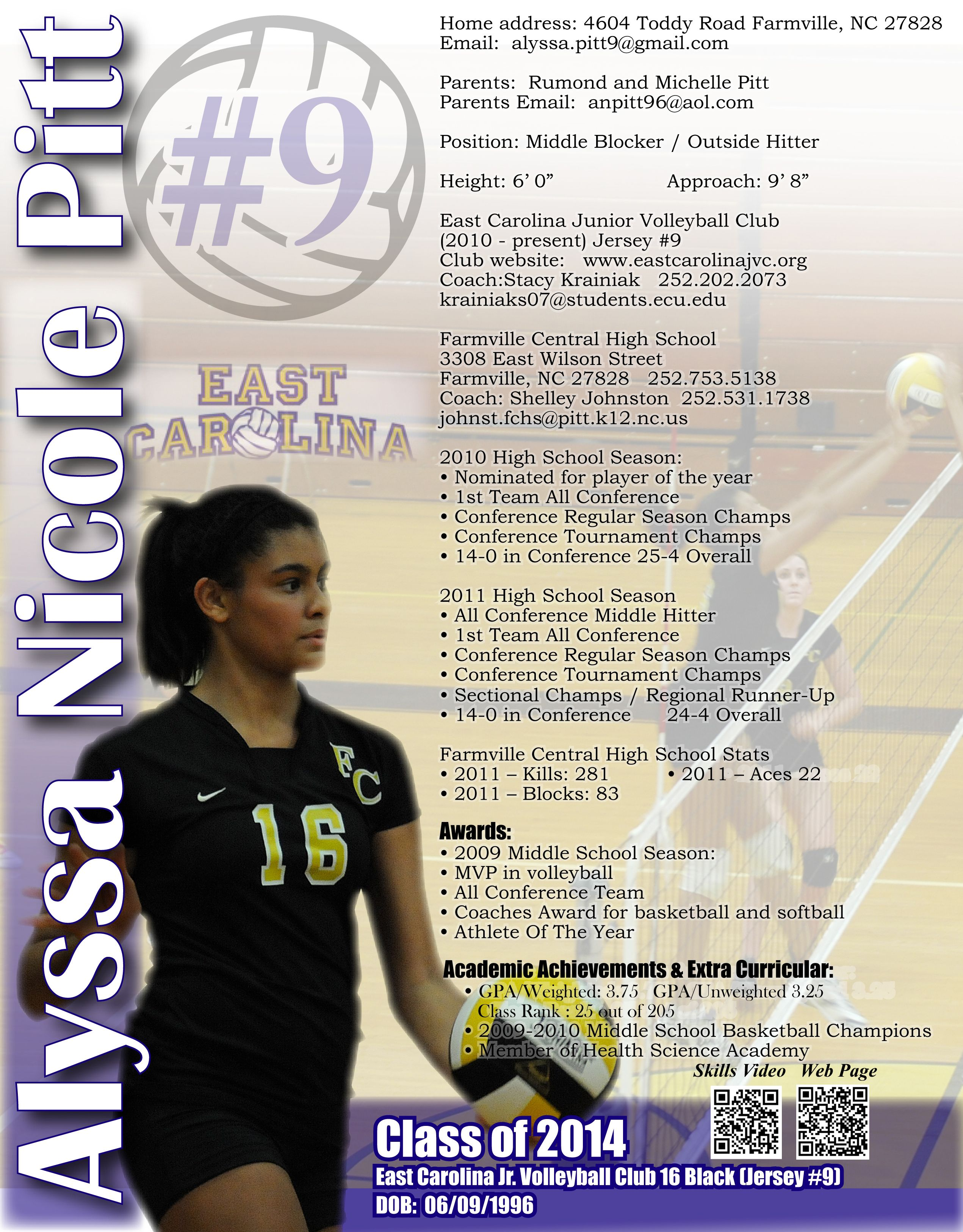 Alyssa Volleyball Flyer Scholarships For College College Recruiting Grants For College