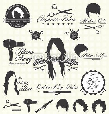 Vector Set Retro Hair Salon Labels And Icons
