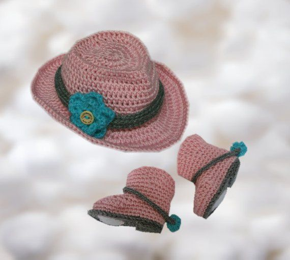 d4bf08b20e8f2 Crochet Baby Cowboy Cowgirl Hat and Boots- Photo Prop Set