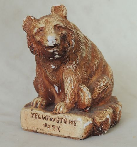 Vintage Yellowstone Park Chalkware Grizzly Bear Antique