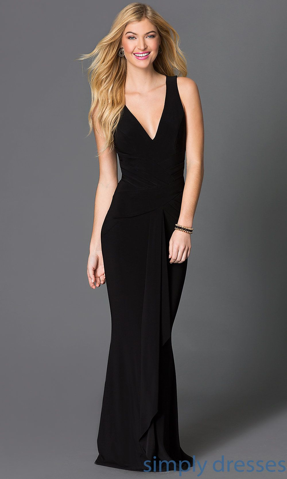 Shop floor length black formal gowns with plunging necklines at