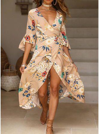 2018 Women Holiday Flare Sleeve Summer Boho Beach V-Neck Beach Floral Long Dress