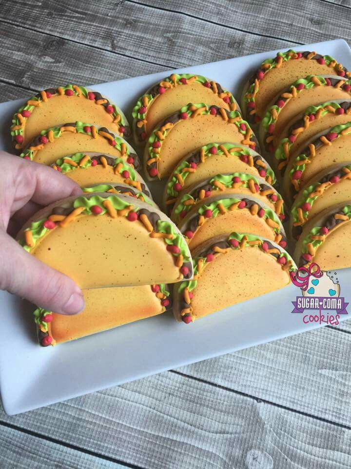 Sugar Coma Cookies Tacos Anyone Decorated Cookies In 2019 Taco