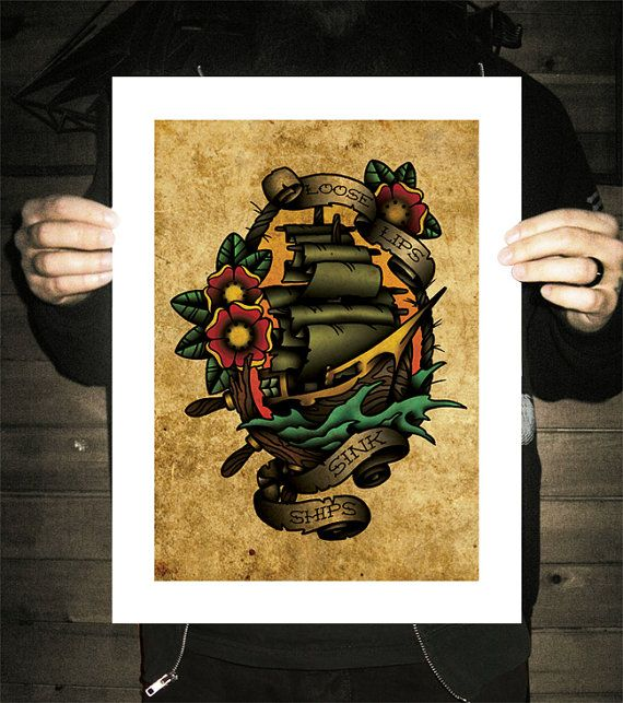 Loose Lips Sink Ships, Neo-Traditional Tattoo Flash, Old School, Art Print 12x16