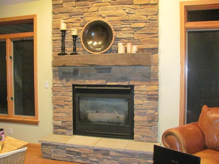 Decorating a Stone Fireplace Mantel | Stacked stone fireplace with ...
