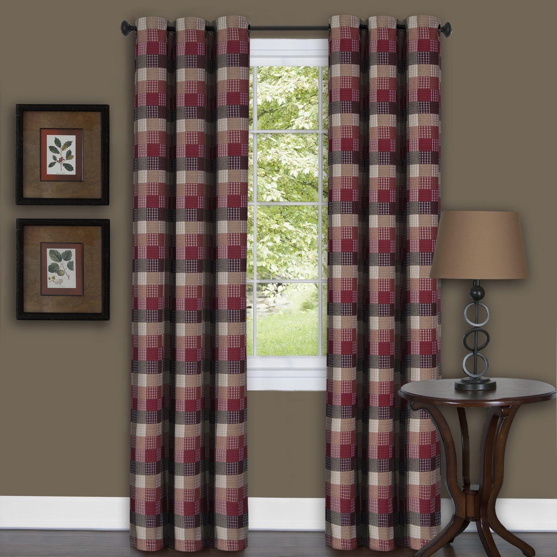 Achim Harvard Burgundy (Red) Curtain Panel (63 Inches)