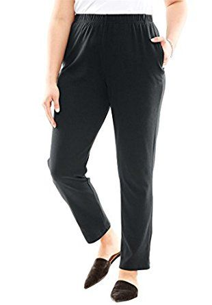 c948dd8a435 Roamans Women s Plus Size Soft Knit Straight Leg Pants Black