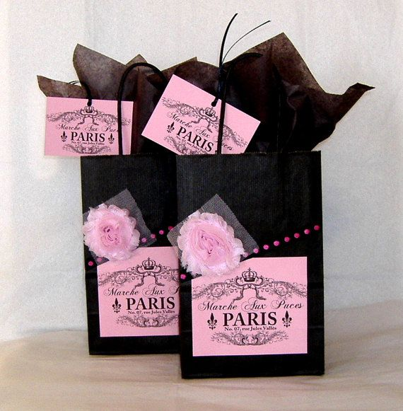 12 French Paris Party Favor Bags Gift Tags And By Peppercorns2