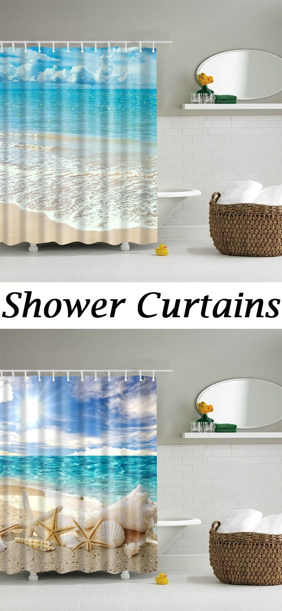 Beach Pattern Bathroom Waterproof Shower Curtain With Images