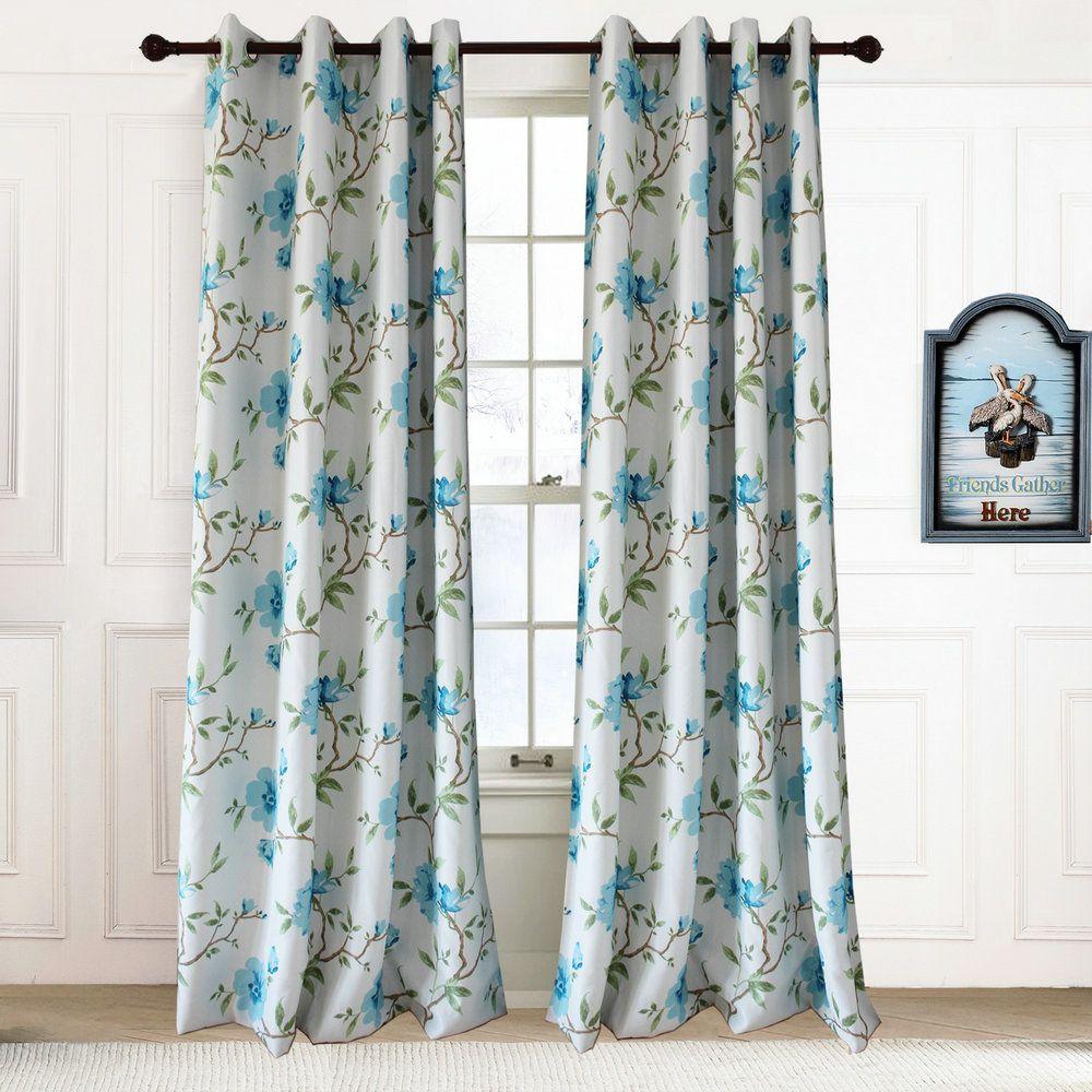 Landhaus Vorhang Blau Blumen Im Wohnzimmer Landhaus Vorhange