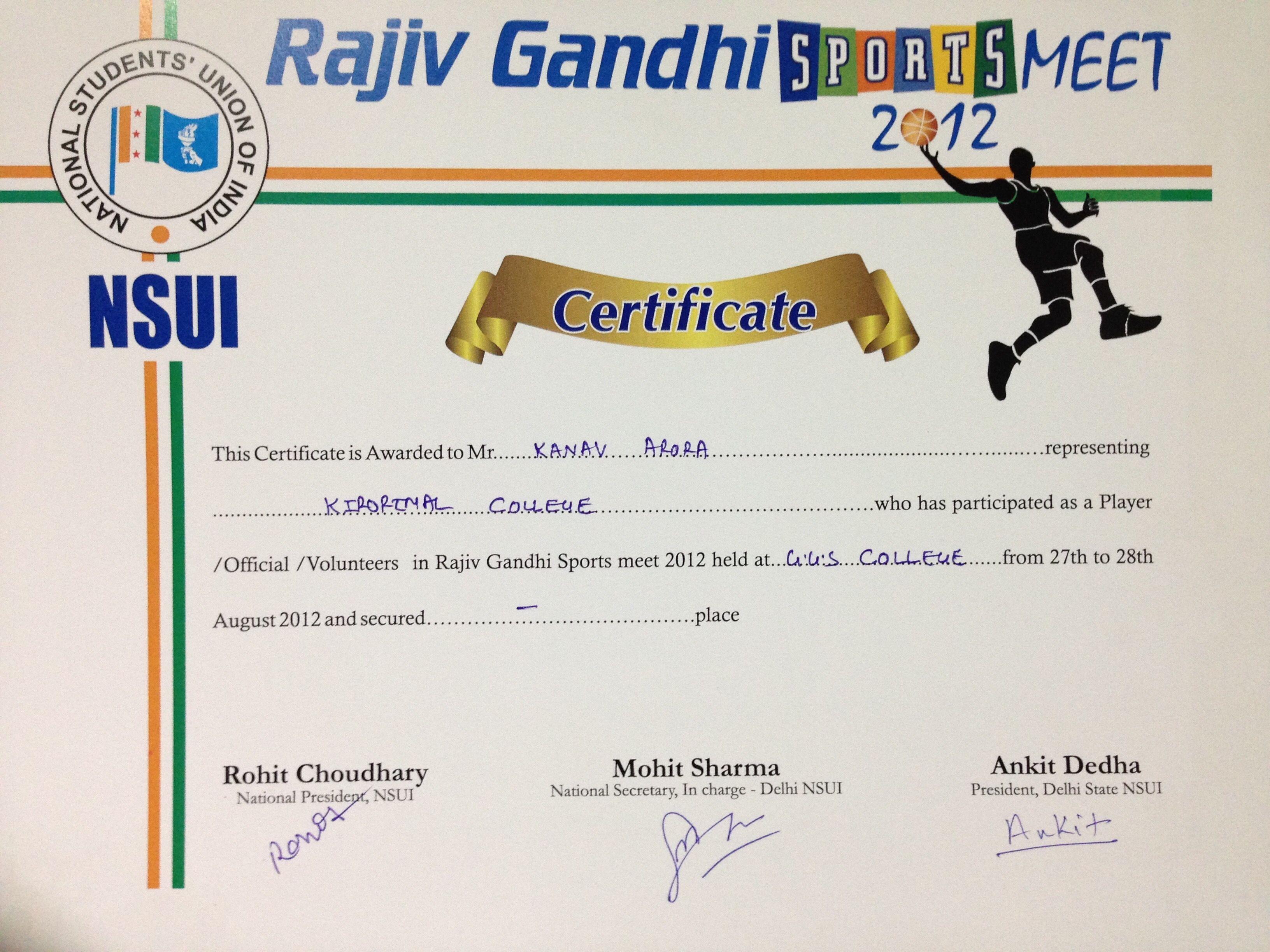 College cricket certificate !   kanav vision board ...