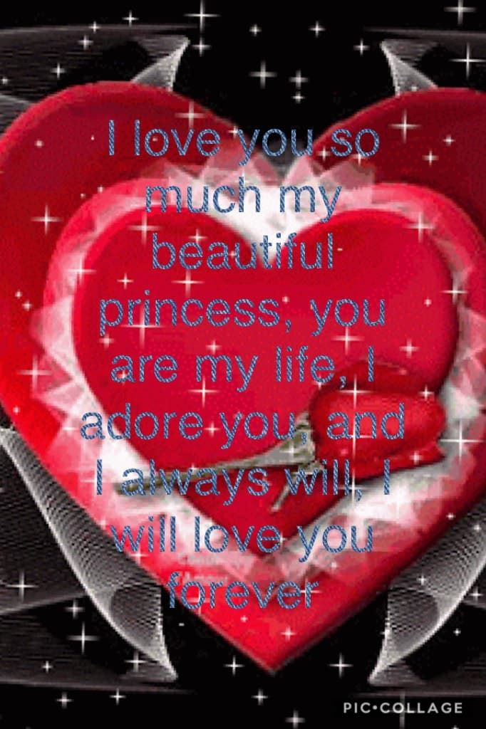 I love you so much my beautiful princess, you are my life, I adore you, and I always will, I will love you forever