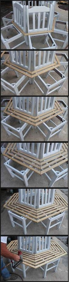 He puts kitchen chairs in a circle. What they become? This backyard ...