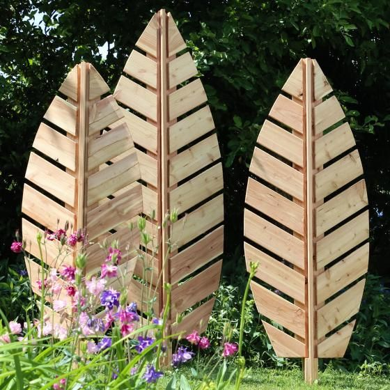 Rankgitter Blatt Folium, 142x57 cm, Lärchenholz, natur online kaufen bei Gärtner Pötschke