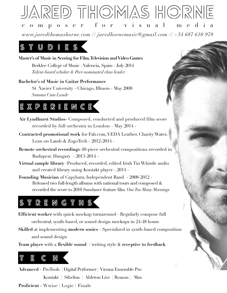 Unique CV with photo Creative Resume Idea Unique CV design – Music Resume
