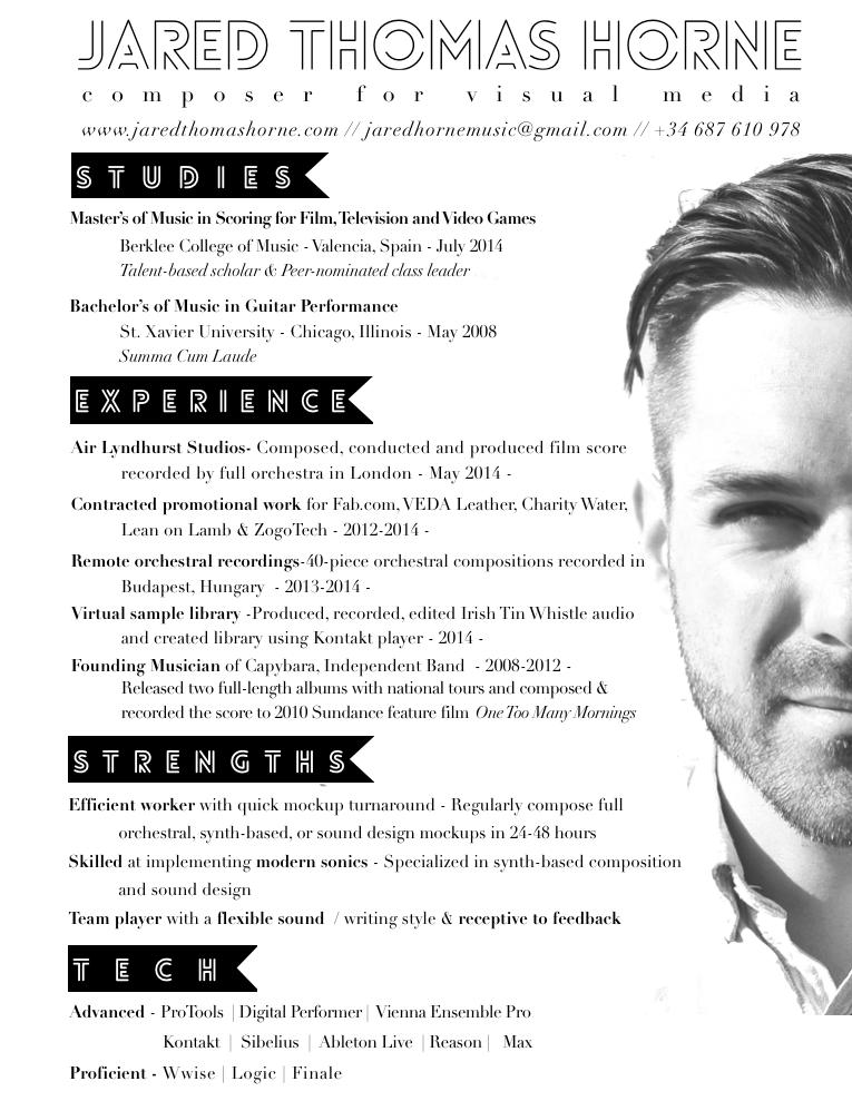 Unique Cv With Photo Creative Resume Idea Unique Cv Design Musician Composer Design Www Jaredthomashorne Com Resume Resume Examples Cv Examples