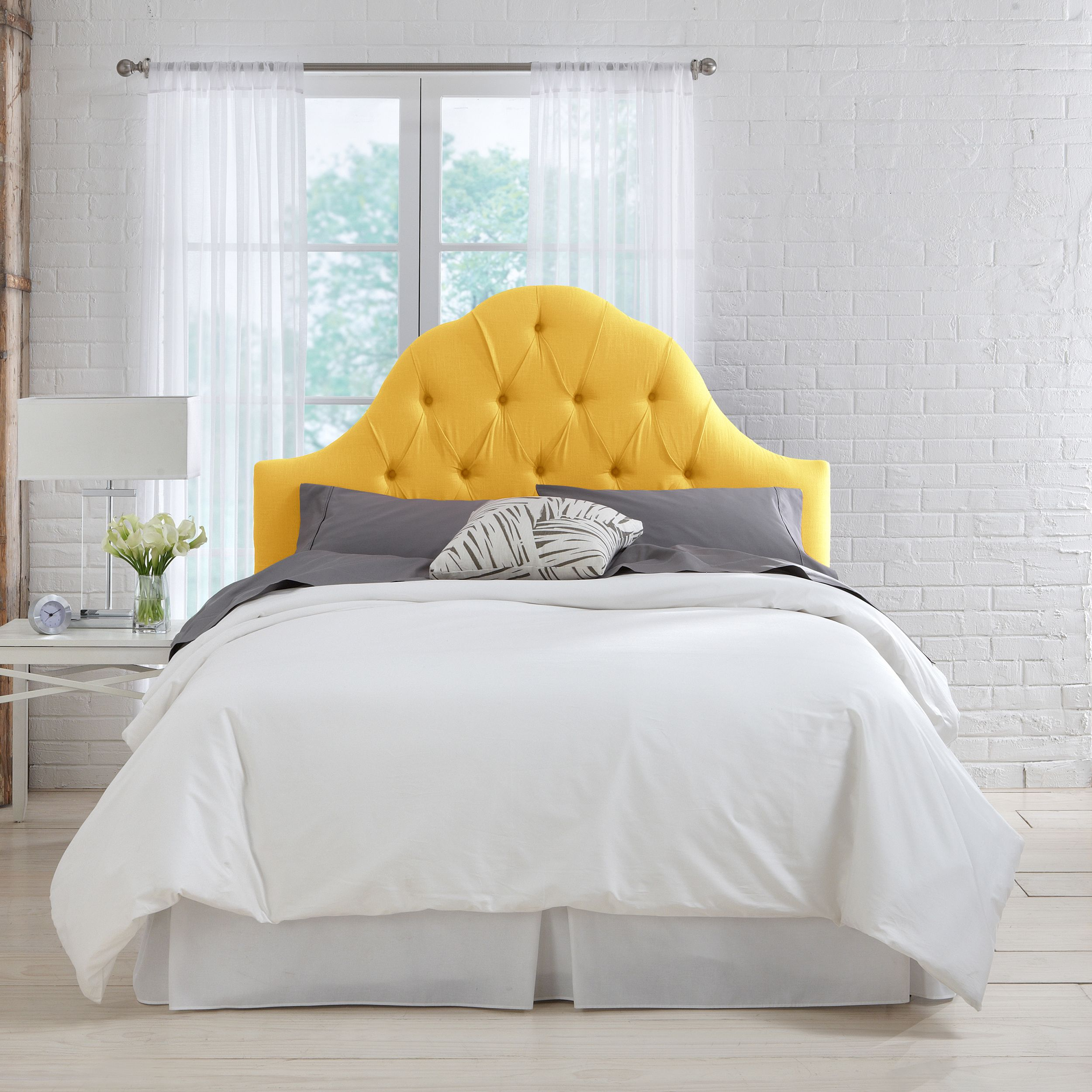 Skyline Furniture French Yellow Linen Arch Tufted