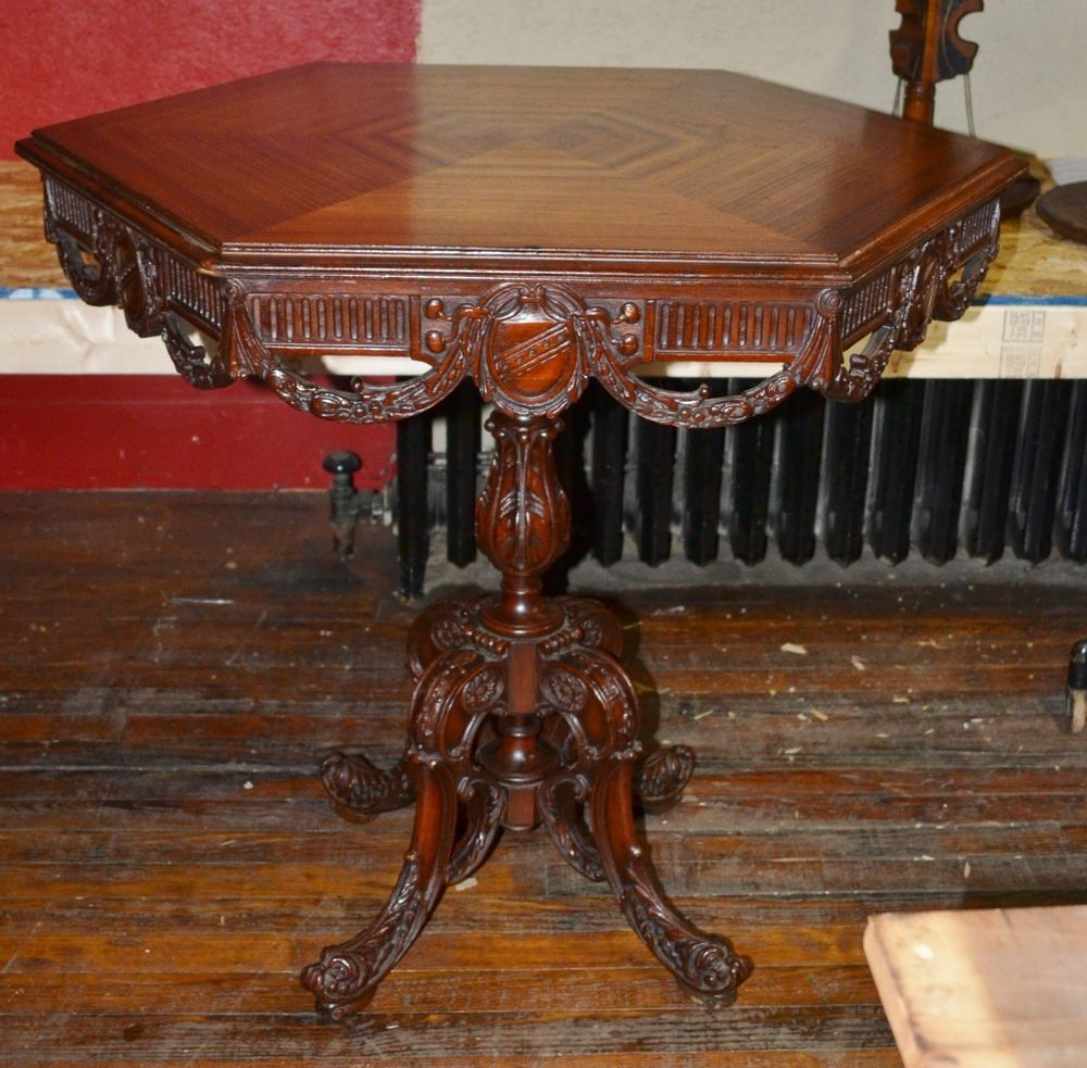 Outstanding heavily carved octagon antique mahogany lamp table w outstanding heavily carved octagon antique mahogany lamp table fish feet geotapseo Gallery