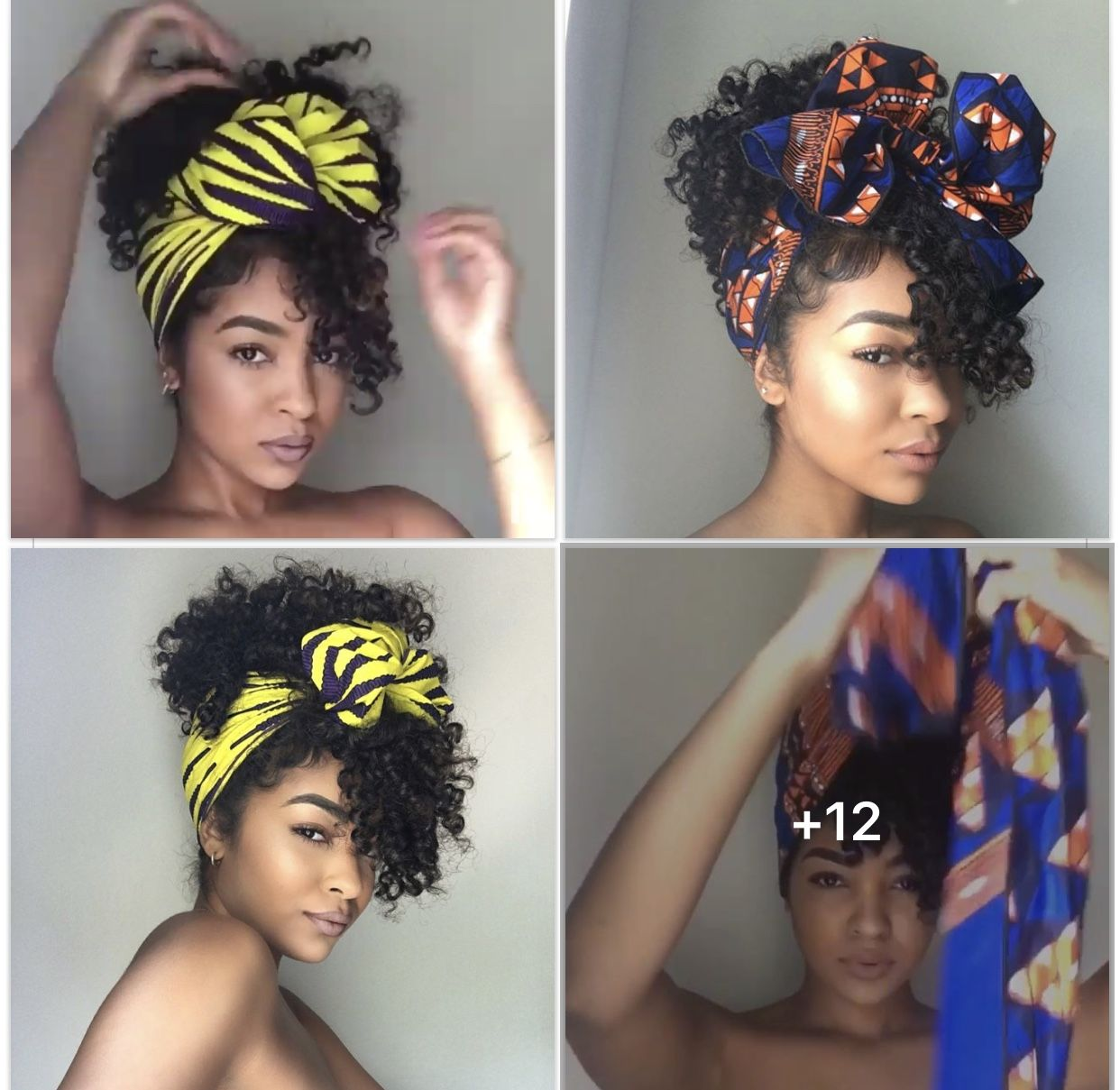 Black Women Curly Hair Style With Scarf In 2019 Hair Scarf