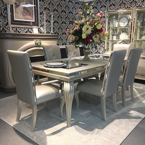 Sparkling Just Like Your Personality Lacks Furniture Diningroom Dining Table Silver Buy Dining Room Table Dining Room Design Luxe Dining Room